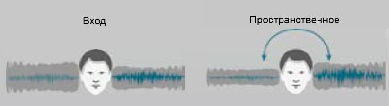 Рисунок 2. Пространственное шумоподавление в условиях асимметричного шума. (Адаптировано из oticon.com)